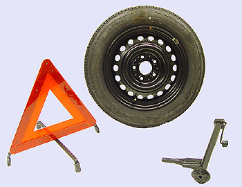 Steel rim car jack warning triangle w201 mercedes for Mercedes benz jack